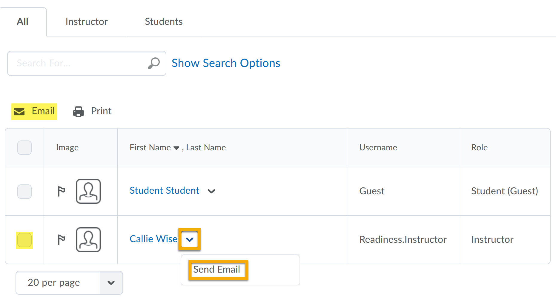 Checkbox and email highlighted. Instructor name and menu highlighted to show email.