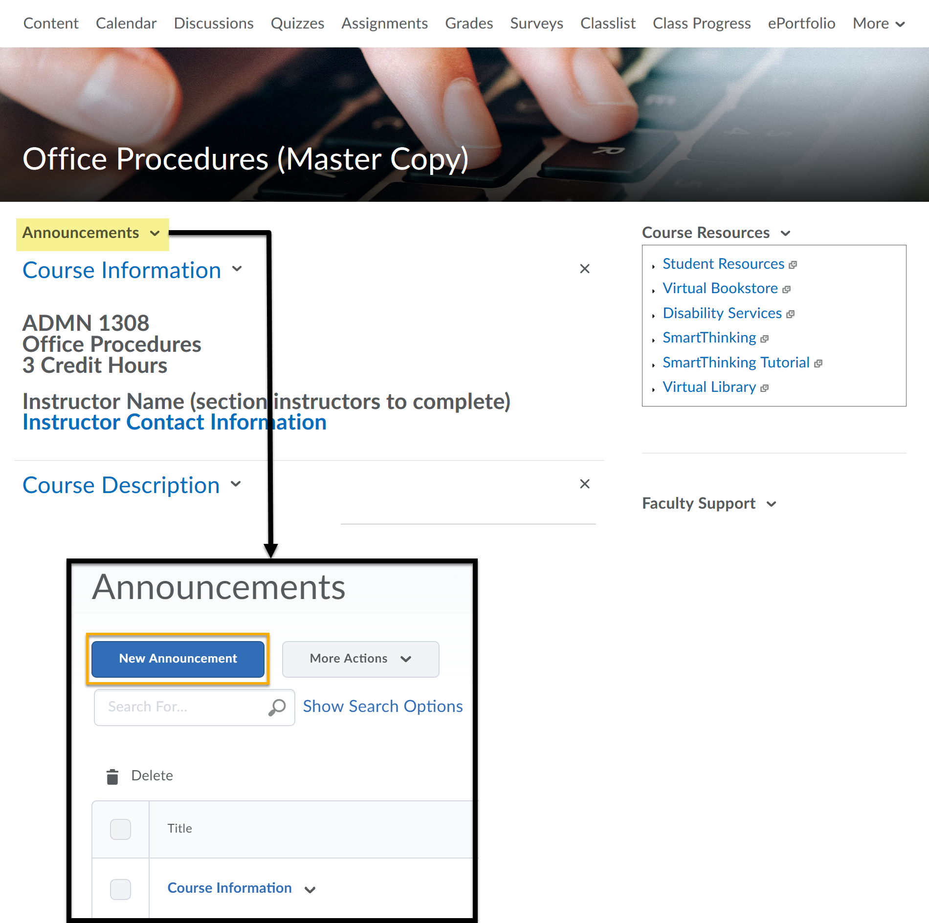 Announcements highlighted on the course page. Opens New Announcements window. New Announcement selected.