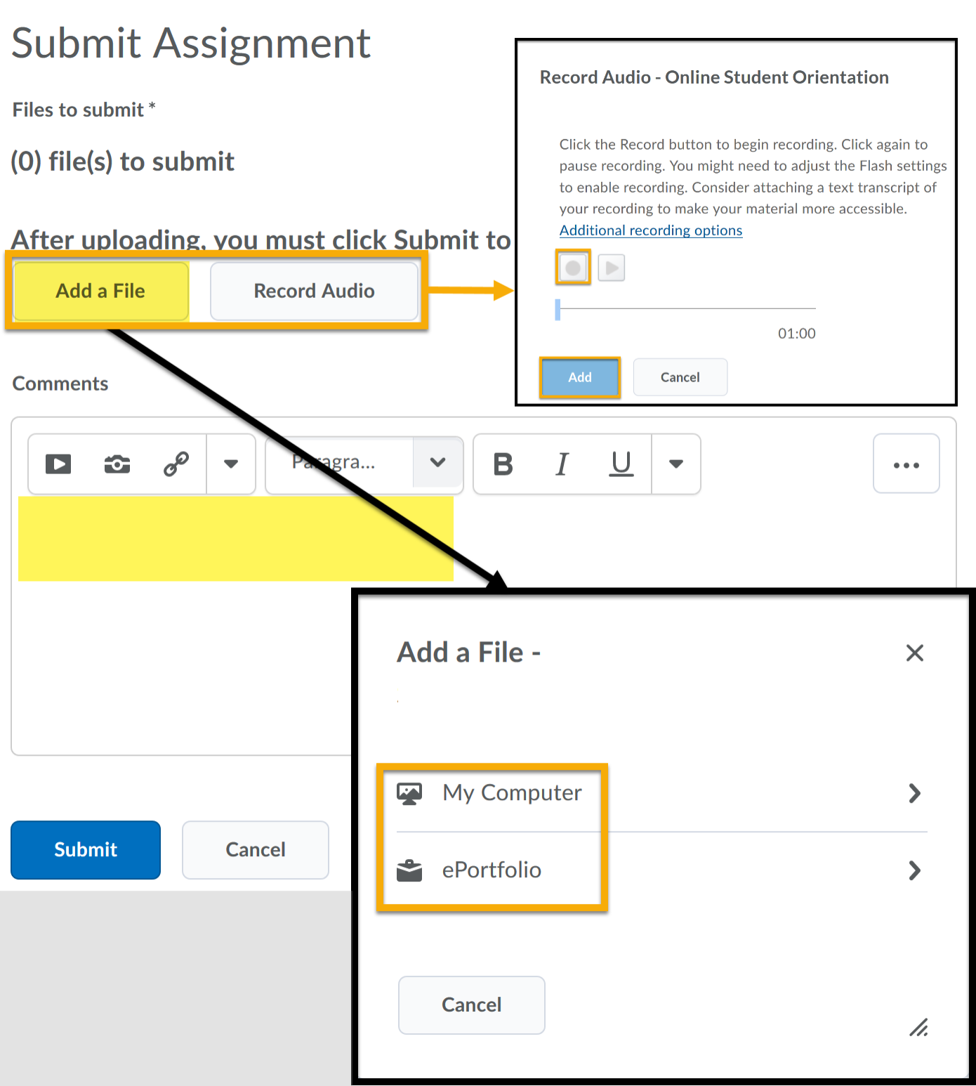 Add a File and Record Audio highlighted. Arrow point to expanded window for My Computer and ePortfolios are possible paths to select files.