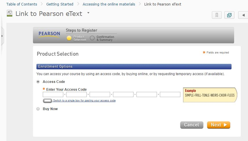 Product selection page prompting the student to enter the access code.