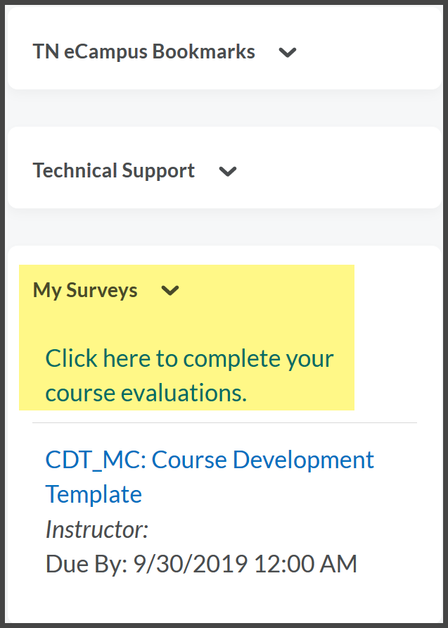 My Surveys widget from TN eCampus homepage