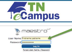 Maestro login page