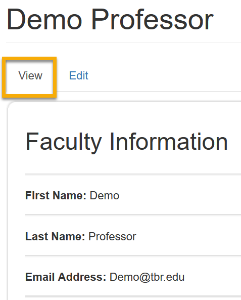 Screencast image of Demo Professor Faculty Information window. Image contact fields for First Name Demo, Last Name Professor, Email address Demo@tbr.edu and D2L Username Demo Professor