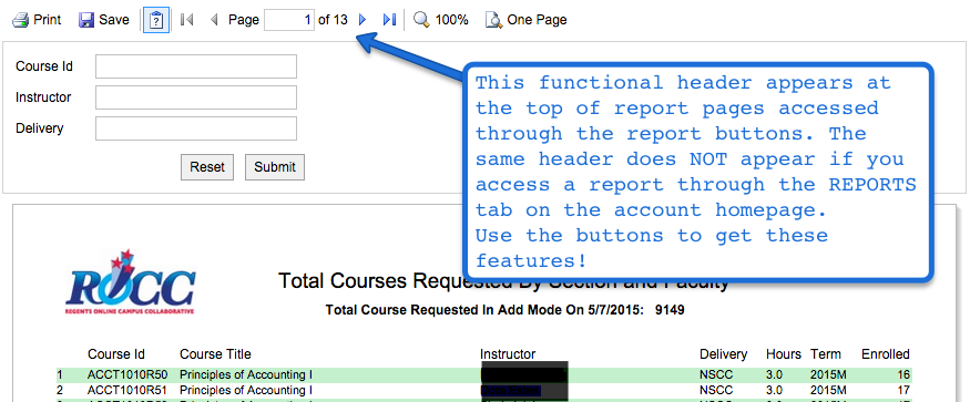 Screenshot of report header that has functionality buttons for searching, filtering, saving, pagination, and printing reports