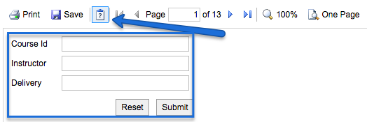Screenshot of Maestro functional report header with arrow pointing to the button with a question mark on it, which hides and shows the three search fields labeled Course ID, Instructor and Delivery.