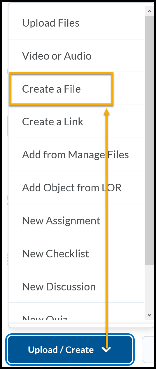 Upload / Create menu expanded to Create a File