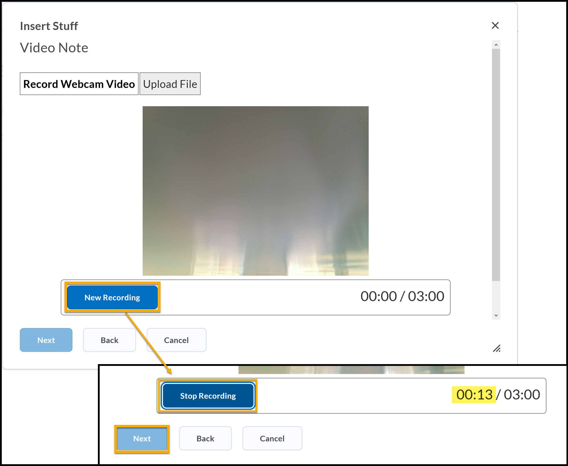 Video Note window open. New Recording highlighted with arrow pointing to recording window. Stop Recording highlighted.