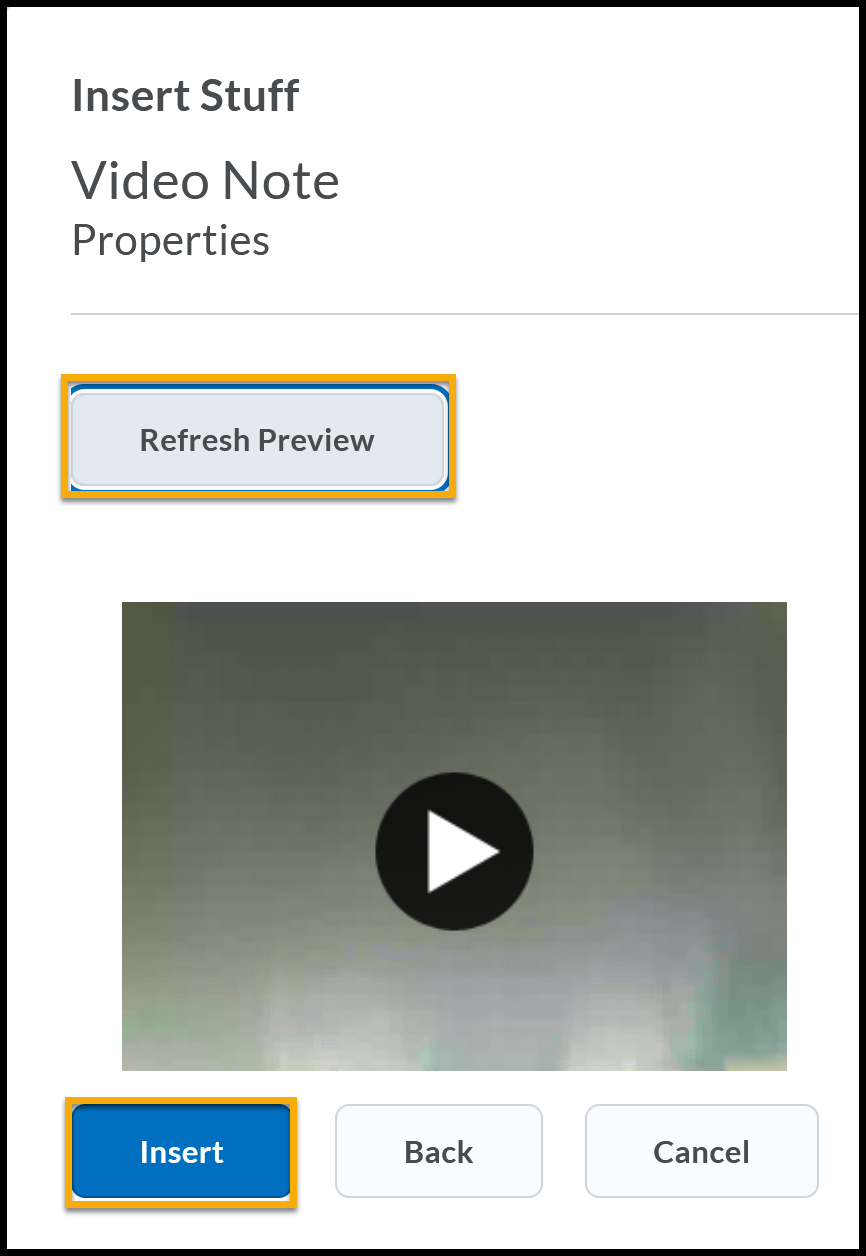 Refresh Preview and Insert highlighted