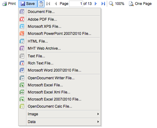 Screenshot of the Save button's pop-up menu items which include: Adobe PDF file, Excel file and document file, among other file types that will not be used