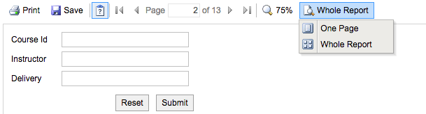 Screenshot of Whole Report button with two options: one page or whole report