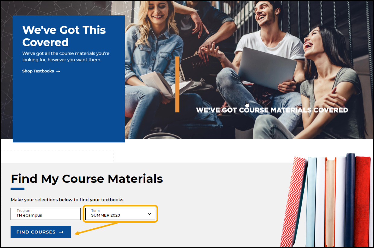 Bookstore homepage with term field highlighted.
