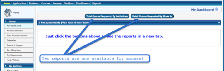 Screenshot of Maestro account page with arrows pointing to the two report buttons in the center of the page