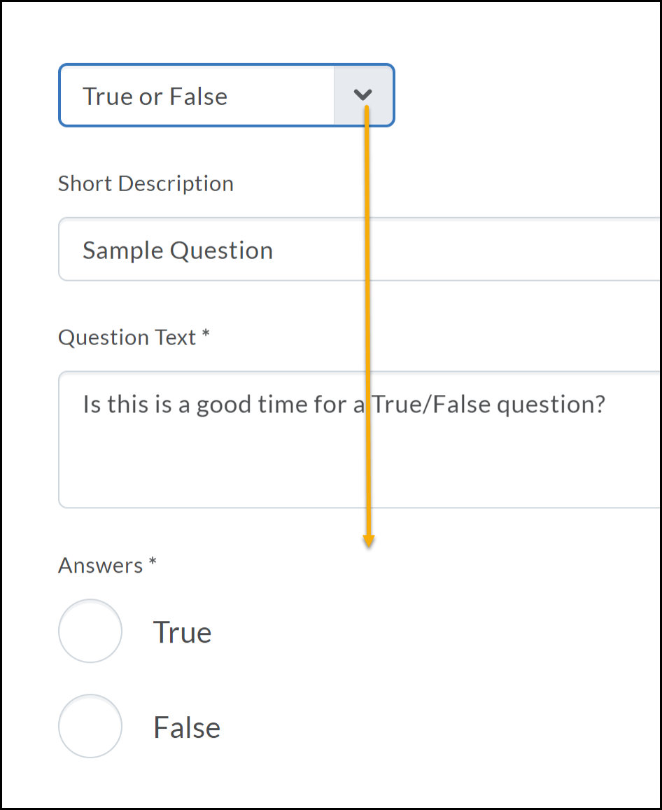 True or False selected with arrow pointing updated answer options True or False.