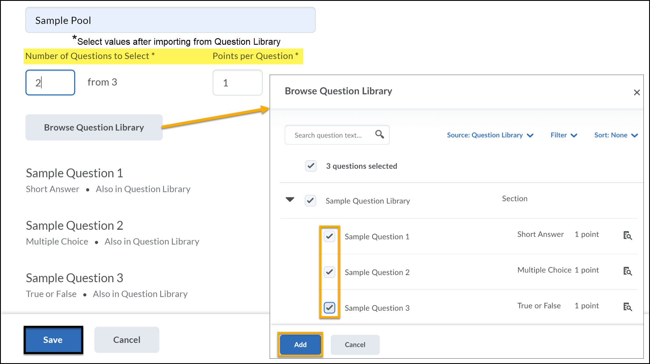 Browse Question Library button with arrow pointing to expanded window. Sample questions checked to add. Number of Questions to Select and Points per Question highlighted.