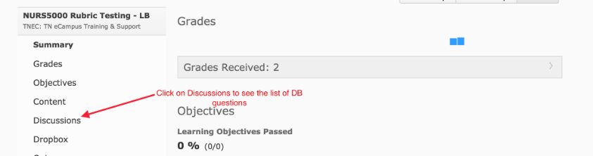 Arrow pointing to Discussion in the Class Progress menu.