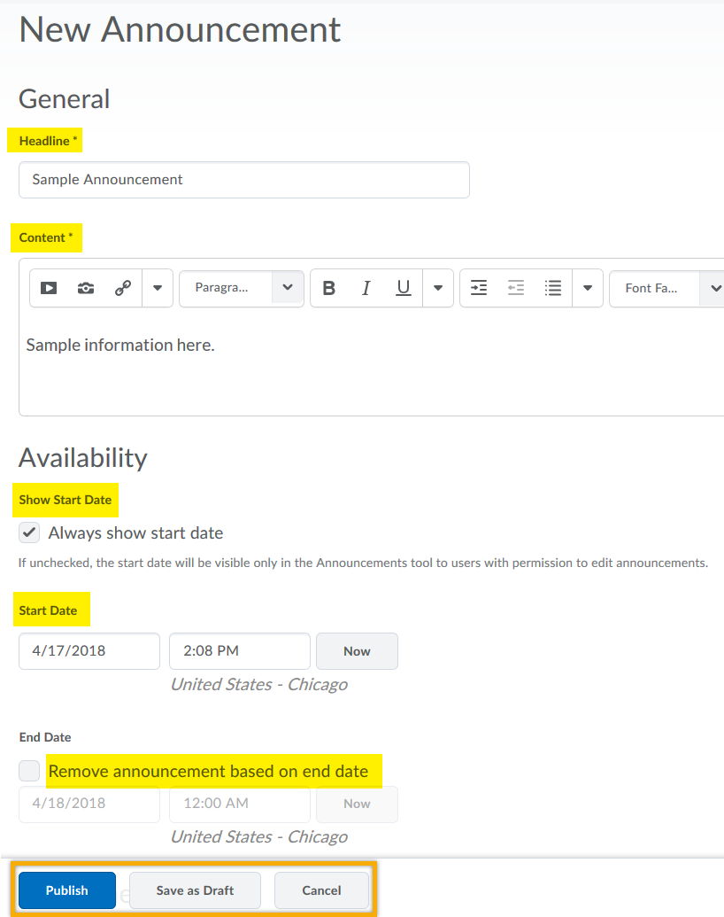 General textboxes for Headline and Content highlighted. Availability textboxes Show Start Date, Start Date and Remove announcement based on end date highlighted. Publish highlighted.
