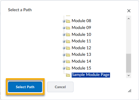 Select a path dialog box displaying the newly created folder.