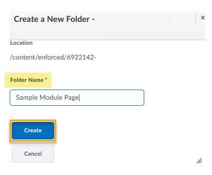 New folder dialog box with a title entered in the folder name textbox and the create button highlighted.
