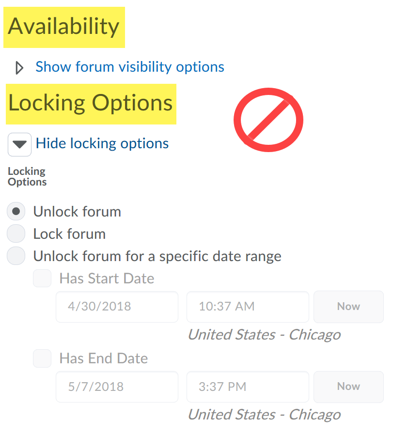 Availability and locking options crossed out on the new forum page.