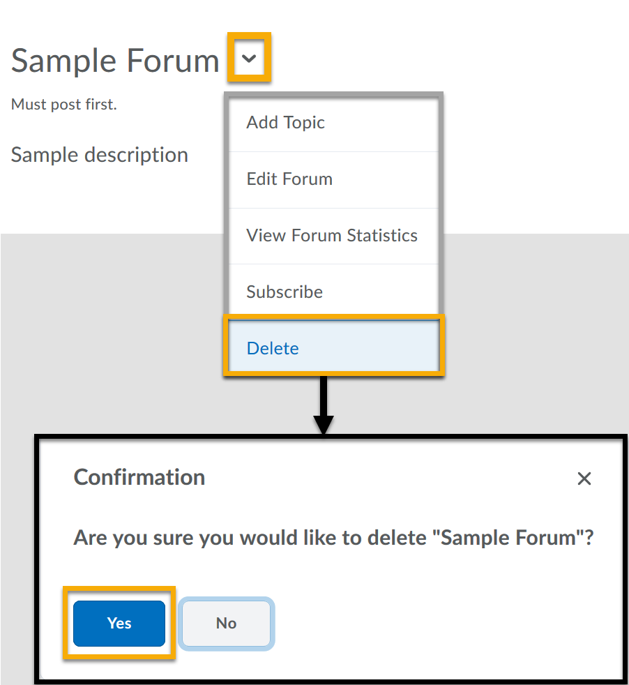 Forum menu expanded to the Delete option. Delete forum confirmation window with the Yes highlighted.